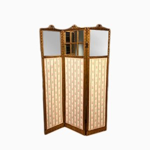 Antique French Carved Gilt Wood Three Fold Vanity Screen, 1900s