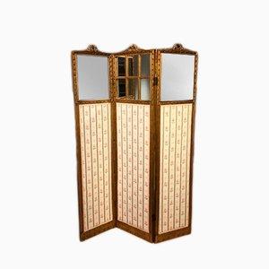Biombo francés antiguo de madera tallada dorada con tres paneles, década del 1900