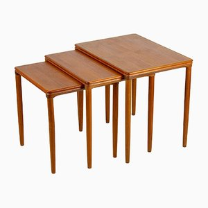 Danish Teak Nesting Tables by E. W. Bach for Møbelfarikken Toften, 1960s