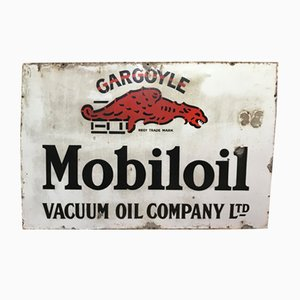 Cartel publicitario Gargoyle Mobil Oil industrial vintage esmaltado, años 30
