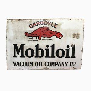 Vintage Industrial Enamel Gargoyle Mobil Oil Sign, 1930s