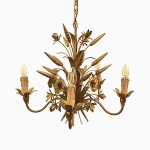 Baroque Style Italian Floral 5 Arm Chandelier, 1970s