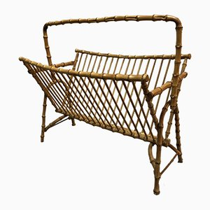 Mid-Century French Rattan Magazine Rack, 1950s