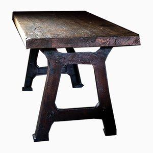Mesa de comedor industrial alemana de hierro fundido y madera, años 20