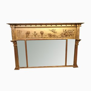 19th-Century Regency Style Giltwood & Gesso Mantel Mirror
