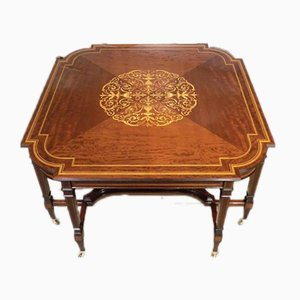 Large Edwardian Mahogany Inlaid Center Table from Edwards & Roberts, 1900s