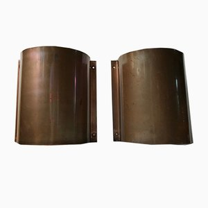 Minimalist Danish Copper Outdoor Wall Sconces from Lyfa, 1970s, Set of 2