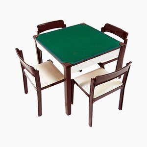 Italian Game Tables & 4 Chairs Set by Gio Ponti for Fratelli Reguitti, 1972