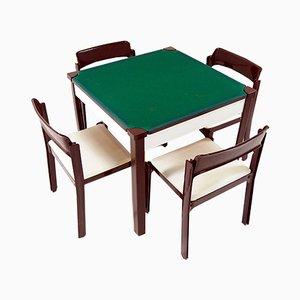 Juego de mesa de juegos y cuatro sillas italiano de Gio Ponti para Fratelli Reguitti, 1972