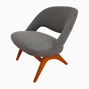 Skandinavischer Sessel aus Buche & Wolle, 1970er