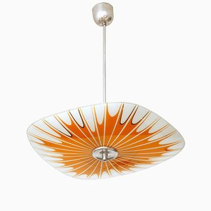 Czechoslovak Glass Ceiling Lamp from Napako, 1960s