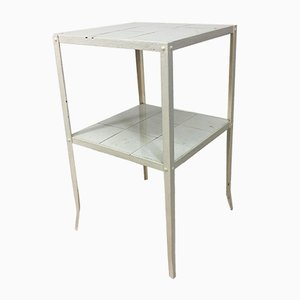 Vintage Industrial French Steel & Ceramic Tile Console Table, 1950s