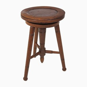 Vintage Adjustable Oak Piano Stool, 1920s