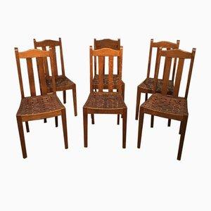 Kunsthandwerk Esszimmerstühle aus Eichenholz von Arthur Simpson, 1910er, 6er Set