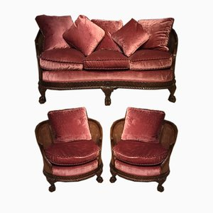 Large Chippendale Revival Mahogany Bergere Suite, 1920s