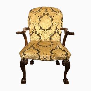 Georgian Style Walnut Desk Chair, 1890s
