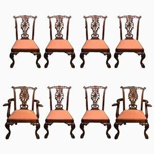 Chaises de Salon Style Chippendale en Acajou, 1890s, Set de 8