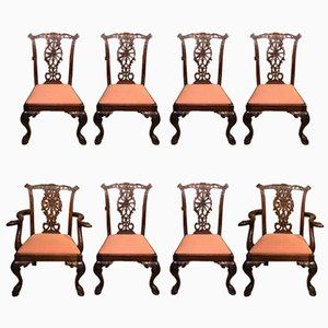 Chippendale Style Mahogany Dining Chairs, 1890s, Set of 8
