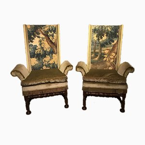Antique Style Oak & Tapestry Armchairs, 1920s
