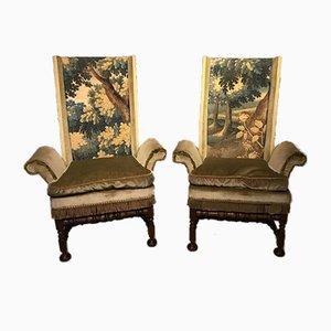 Armlehnstühle aus Eiche & Tapisserie im antiken Stil, 1920er
