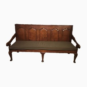 Antique Oak Five-Panel Bench, 1780s