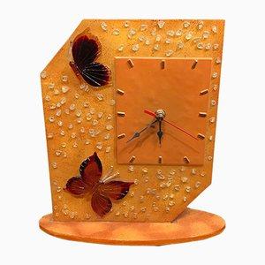Vintage Italian Acrylic Clock, 1980s