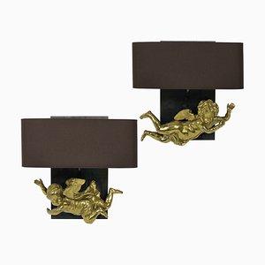 Antique Gilt Brass Cherub Wall Sconces, Set of 2