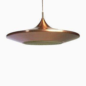 Lampada da soffitto vintage in ottone e rame di Ejnar Mielby per Lyfa, Danimarca, anni '70