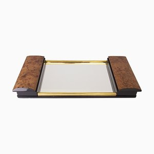 Art Deco Burr Elm & Mirror Glass Tray with Side Storage, 1930s