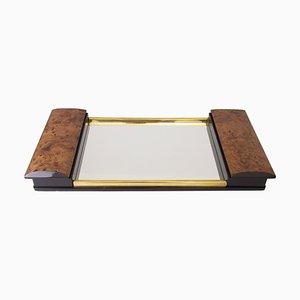 Art Deco Burr Elm & Mirror Glass Tray with Side Storage, 1930s