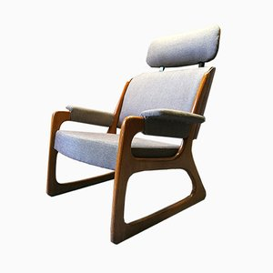 French Sleigh Lounge Chair from Baumann, 1960s