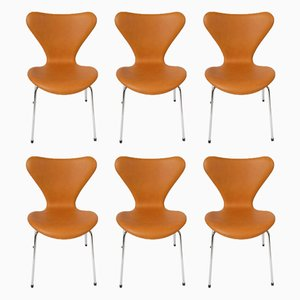 Model 3107 Danish Dining Chairs by Arne Jacobsen for Fritz Hansen, 1950s, Set of 6