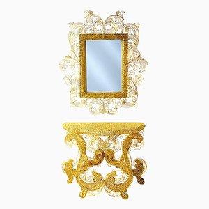 Consola King Sun con espejo de Anacleto Spazzapan, años 90