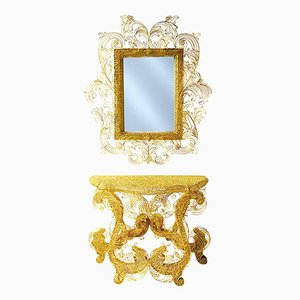 King Sun Console with Mirror by Anacleto Spazzapan, 1990s