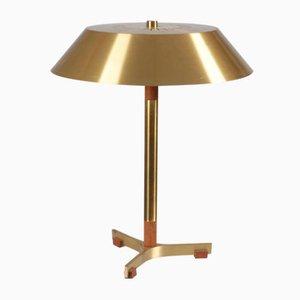 Lámpara de mesa danesa de latón y teca de Jo Hammerborg para Fog & Mørup, años 60