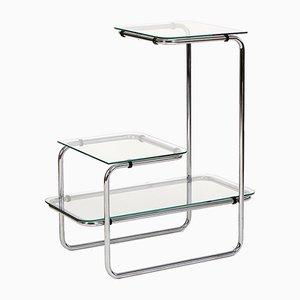 Art Deco Regal aus Glas & Stahl