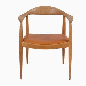 Dänischer Armlehnstuhl aus Eichenholz & Anilinleder von Hans J. Wegner für Johannes Andersen, 1950er