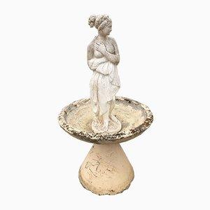 Statua da giardino vintage in pietra e ceramica