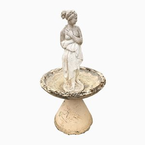 Vintage Stone & Ceramic Garden Statue with Basin