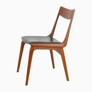 Danish Leather and Teak Dining Chair by Christensen, Alfred for Slagelse Møbelværk, 1960s