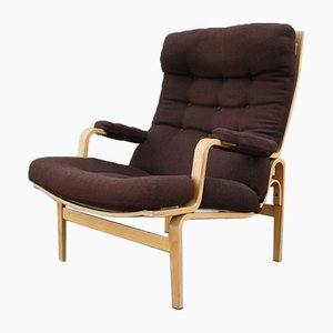 Vintage Birch & Fabric Lounge Chair by Bruno Mathsson for Dux, 1975