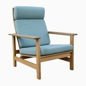 Vintage Danish Model 2561 Fabric & Oak Lounge Chair by Søren Holst for Fredericia, 1980s