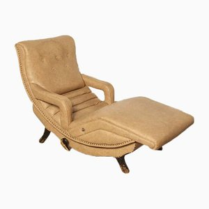 Chaise longue de cuero sintético y madera, años 50