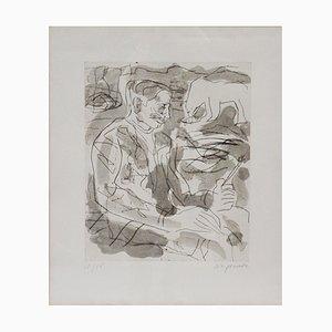 Gravure à l'Eau-Forte d'un Portrait de Per Kirkeby par A. R. Penck, 1984