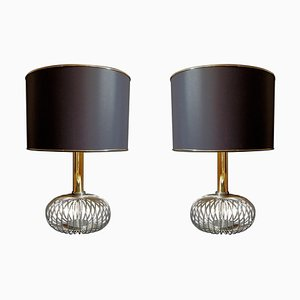 Lampade da tavolo Mid-Century in ottone e acciaio cromato, anni '70, set di 2