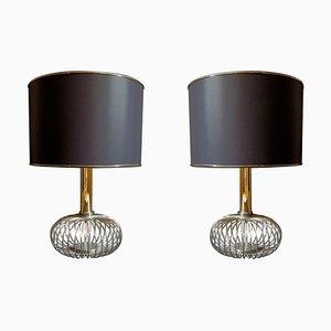 Lámparas de mesa Mid-Century de cromo y latón, años 70. Juego de 2