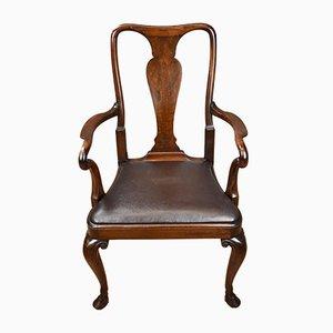 Antique Georgian Red Walnut Desk Chair