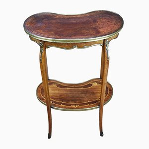 Antique French Walnut Inlaid & Brass Mounted Occasional Table