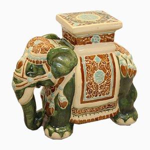 Grand Piédestal Éléphant Vintage en Céramique, Chine