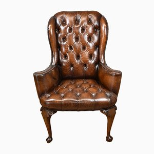 Vintage Leather & Mahogany Wingback Chair, 1920s